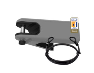 Light Grey Airlok lockable wall hanger with 2MC steel security cable studio image