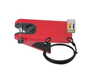 Red Airlok lockable wall hanger with 2MC steel security cable studio image
