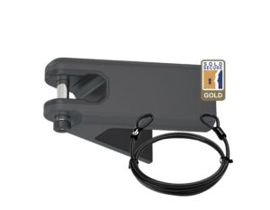 Grey Airlok lockable wall hanger with 2MC steel security cable studio image