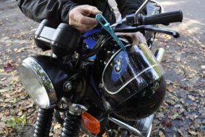 Helmet locked to motorbike helmet with Z LOK lock