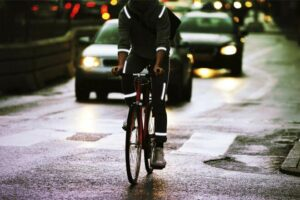 Cyclist Wearing Brilliant Reflective Strips